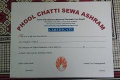 Phool Chatti Ashram Certificate